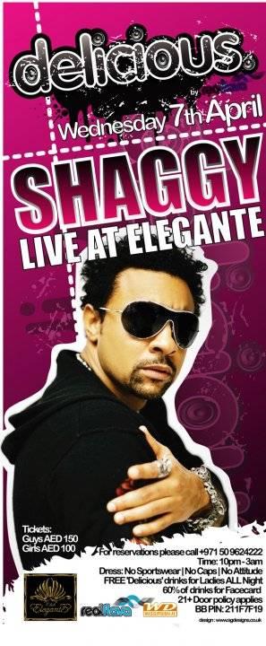 Shaggy and DJ Bliss at Club Elegante in Dubai UAE United Arab Emirates Delicious concert flyer