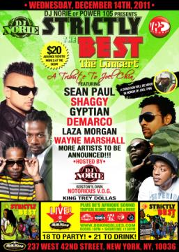 Shaggy Sean Paul Gyptian Demarco Laza Morgan Wayne Marshall DJ Norie VP Records tribute concert to the late Joel Chin A&R manager for VP