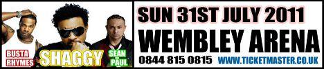 One Love Peace Festival Shaggy Sean Paul Busta Rhymes July 31 Wembley Arena London UK concert