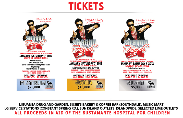 Tickets info flyer Shaggy and Friends charity conert featuring Shaggy Ms Lauryn Hill Eve Maxi Priest Half-Pint Coco Tea I-Octane Gyptian Mr Vegas Wayne Marshall Tami Chynn Deniece Williams Agent Sasco Romain Virgo surprise artists. All proceeds go to the Bustamante Hospital for Children.
