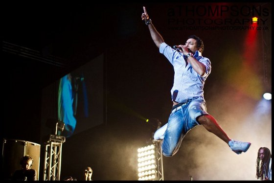 Shaggy flying at the One Love Peace Festival at the Wembley Arena in London 2011