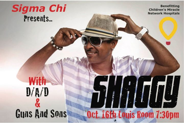 Shaggy at Louis Ballroom at Norris Northwestern University Evanston Illinois October 16 for Sigma Chi Derby Days 2011 Louis Room US Shaggy tour benefiting the Children's Miracle Network Hospitals charity