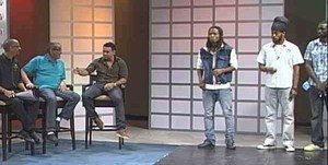 Shaggy Simon Crosskill Neville Bell play judges at Roll Out on Smile Jamaica on TVJ January 6, 2012