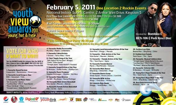 Youth View Awards 2011 flyer Shaggy Mavado Yendi Phillips Tifa Sean Paul Jay Will Game Over and more nominated