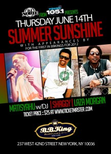 DJ Norie's Summer Sunshine at B.B. King Blues Club & Grill in New York City with Shaggy, Matisyahu and Laza Morgan